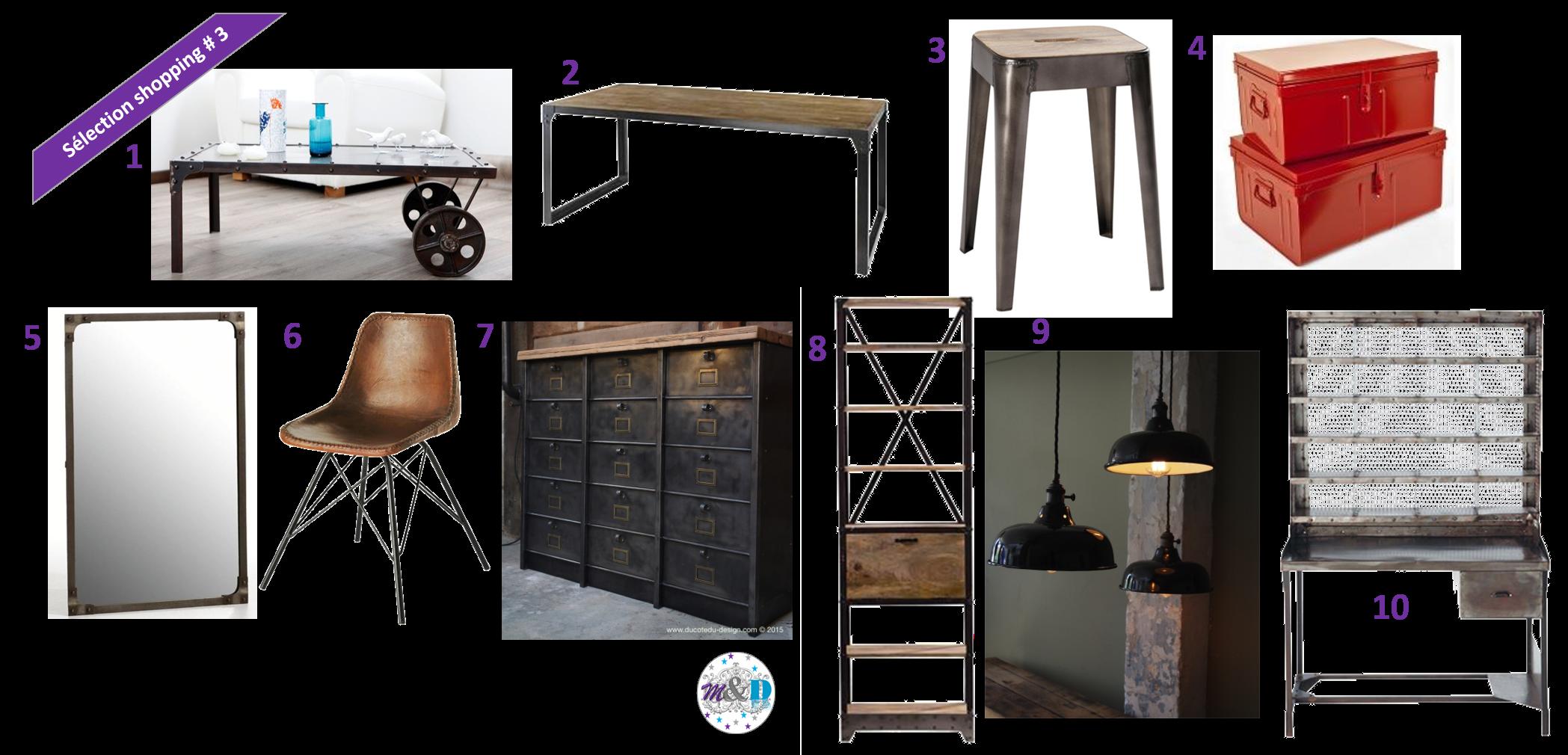 shopping d co 3 esprit loft et style industriel cerisier indigo. Black Bedroom Furniture Sets. Home Design Ideas